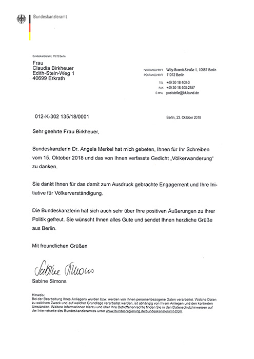 Brief von Dr. Angela Merkel